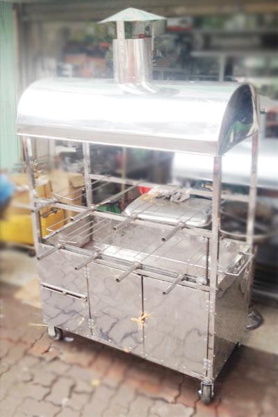 Lò quay vịt gà 2 tầng 8 xiên inox 100%