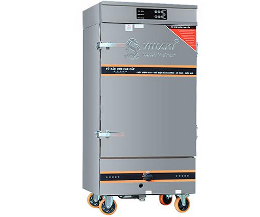 Tủ nấu cơm 6 khay dùng ga điện kết hợp, có chế độ hẹn giờ và cài đặt nhiệt độ