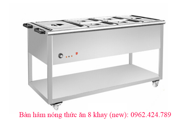 Bàn hâm nóng thức ăn 8 khay (new)