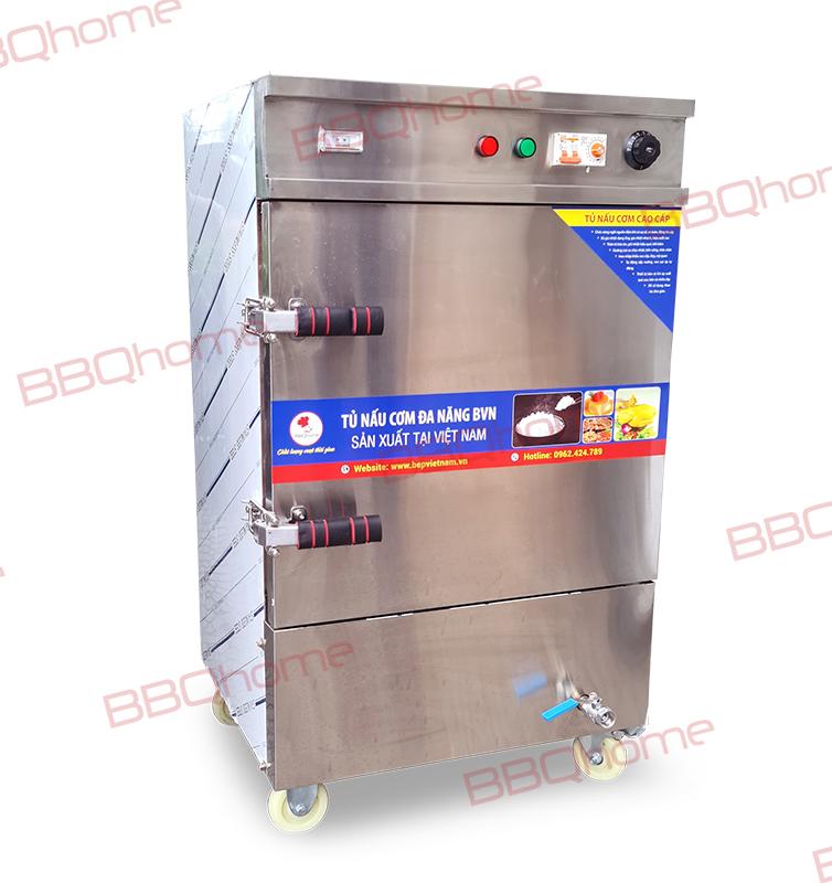 Tủ nấu cơm 6 khay dùng điện, có chế độ hẹn giờ và cài đặt nhiệt độ